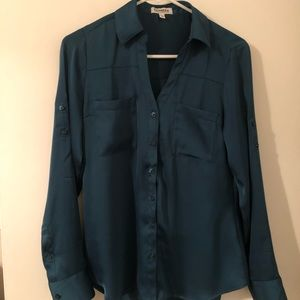 Express Dark Green Portofino Shirt Size XS
